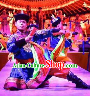 Chinese Saihan Tara Mongol Nationality Blue Clothing Stage Performance Dance Costume for Men