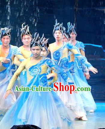 Chinese Wind Of Colorful Guizhou Dance Blue Clothing Stage Performance Dance Costume for Men