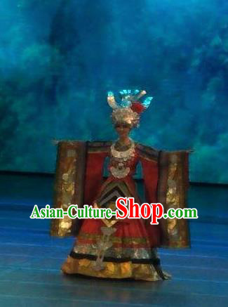 Chinese Wind Of Colorful Guizhou Miao Nationality Dance Dress Stage Performance Costume and Headpiece for Women