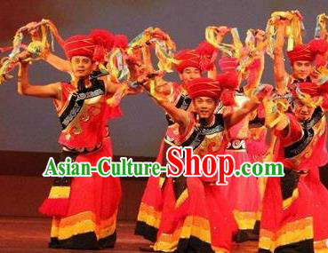 Chinese Wind Of Colorful Guizhou Miao Nationality Dance Red Clothing Stage Performance Dance Costume for Men