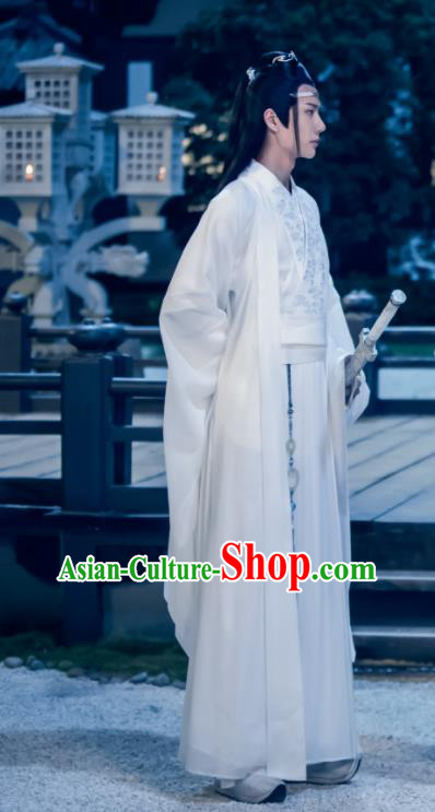 The Untamed Chinese Ancient Drama Nobility Childe Swordsman Lan Wangji Costumes for Men