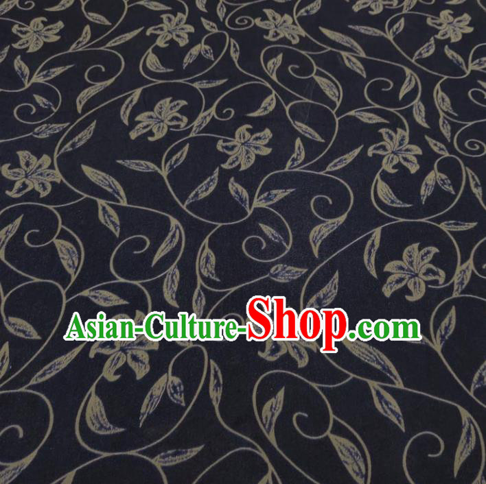 Traditional Chinese Classical Flowers Pattern Navy Gambiered Guangdong Gauze Silk Fabric Ancient Hanfu Dress Silk Cloth