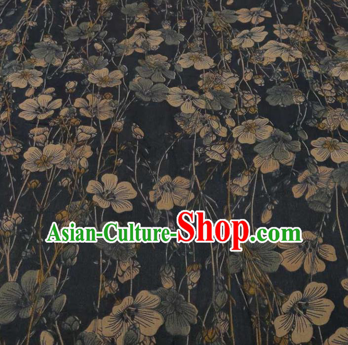 Traditional Chinese Classical Pattern Navy Gambiered Guangdong Gauze Silk Fabric Ancient Hanfu Dress Silk Cloth
