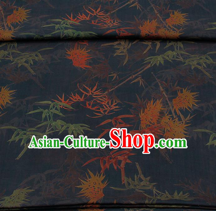 Traditional Chinese Classical Bamboo Maple Leaf Pattern Black Gambiered Guangdong Gauze Silk Fabric Ancient Hanfu Dress Silk Cloth