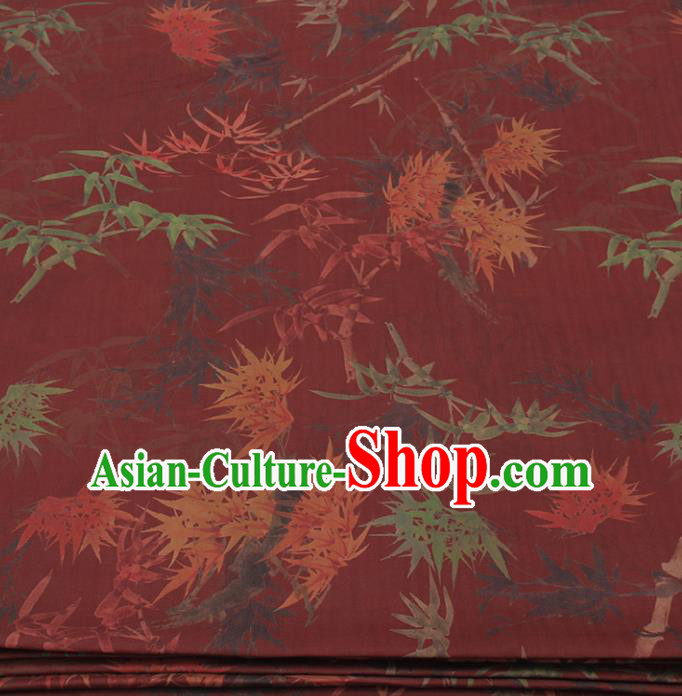 Traditional Chinese Classical Bamboo Maple Leaf Pattern Dark Red Gambiered Guangdong Gauze Silk Fabric Ancient Hanfu Dress Silk Cloth