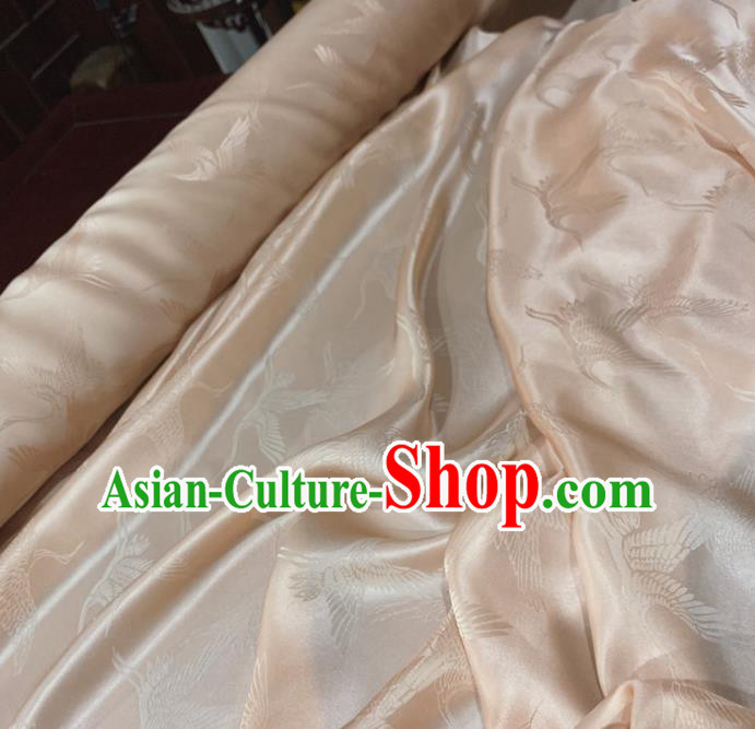 Chinese Classical Cranes Pattern Pink Silk Fabric Traditional Ancient Hanfu Dress Brocade Cloth