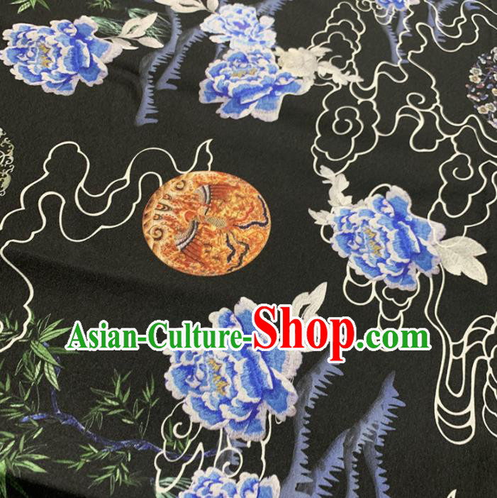 Chinese Classical Peony Pattern Black Silk Fabric Traditional Ancient Hanfu Dress Brocade Cloth