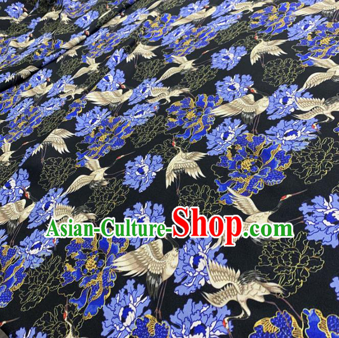 Chinese Classical Peony Cranes Pattern Black Silk Fabric Traditional Ancient Hanfu Dress Brocade Cloth