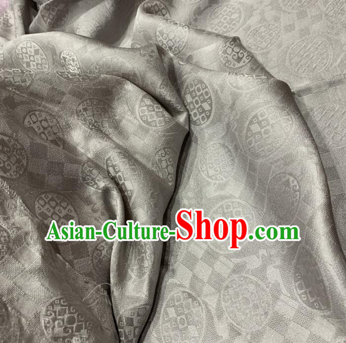 Chinese Classical Pattern Light Grey Silk Fabric Traditional Ancient Hanfu Dress Brocade Cloth