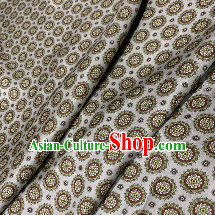 Chinese Classical Round Flowers Pattern White Silk Fabric Traditional Ancient Hanfu Dress Brocade Cloth