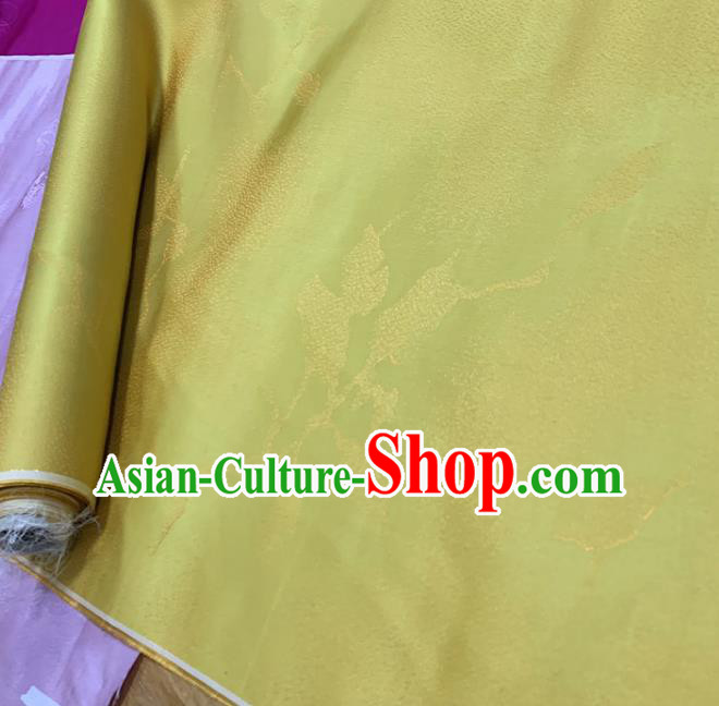 Chinese Classical Pattern Yellow Silk Fabric Traditional Ancient Hanfu Dress Brocade Cloth
