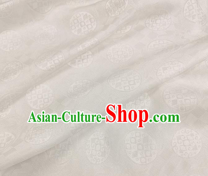 Chinese Classical Round Pattern White Silk Fabric Traditional Ancient Hanfu Dress Brocade Cloth
