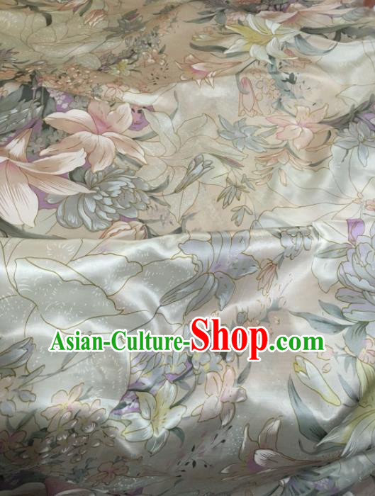 Chinese Classical Lily Flowers Pattern Silk Fabric Traditional Ancient Hanfu Dress Brocade Cloth