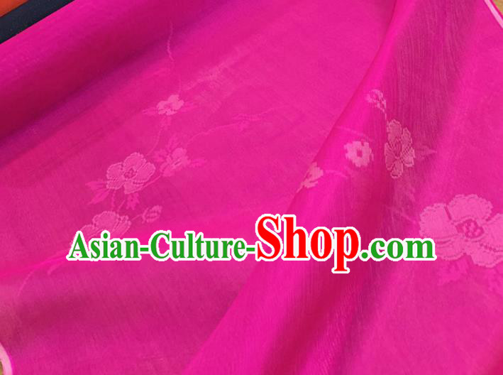 Chinese Classical Flowers Pattern Rosy Silk Fabric Traditional Ancient Hanfu Dress Brocade Cloth