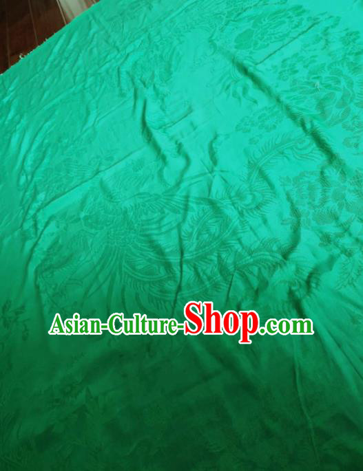 Chinese Classical Phoenix Peony Pattern Green Silk Fabric Traditional Ancient Hanfu Dress Brocade Cloth