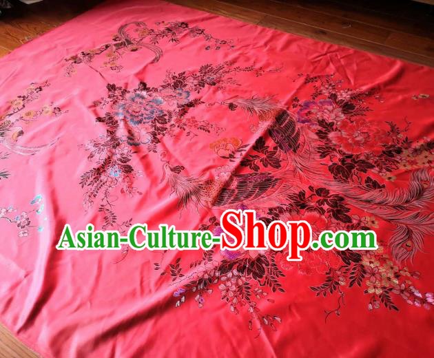 Chinese Classical Phoenix Peony Pattern Red Silk Fabric Traditional Ancient Hanfu Dress Brocade Cloth