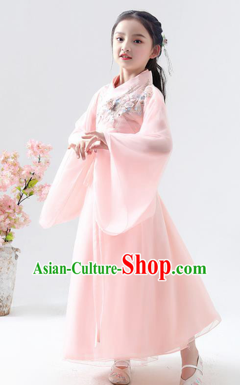 Chinese Traditional Jin Dynasty Girls Light Pink Hanfu Dress Ancient Peri Princess Costume for Kids
