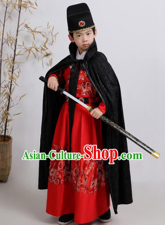 Chinese Traditional Ming Dynasty Imperial Guards Red Hanfu Clothing Ancient Boys Swordsman Costume for Kids