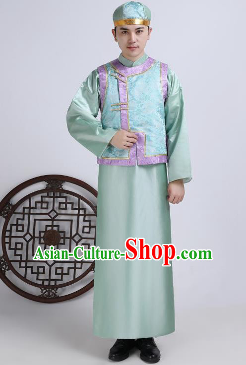 Chinese Traditional Qing Dynasty Royal Prince Green Hanfu Clothing Ancient Manchu Nobility Childe Costume for Men