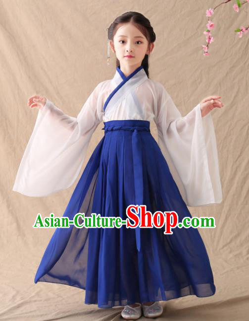 Chinese Traditional Jin Dynasty Girls Royalblue Hanfu Dress Ancient Peri Princess Costume for Kids