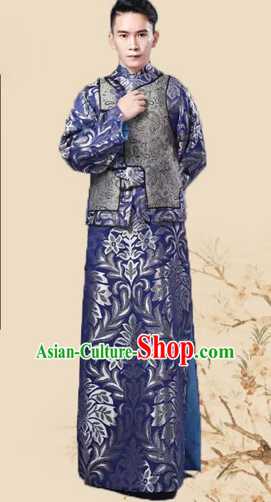 Chinese Traditional Qing Dynasty Prince Royalblue Hanfu Clothing Ancient Manchu Nobility Childe Costume for Men