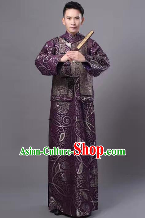 Chinese Traditional Qing Dynasty Prince Purple Hanfu Clothing Ancient Manchu Nobility Childe Costume for Men