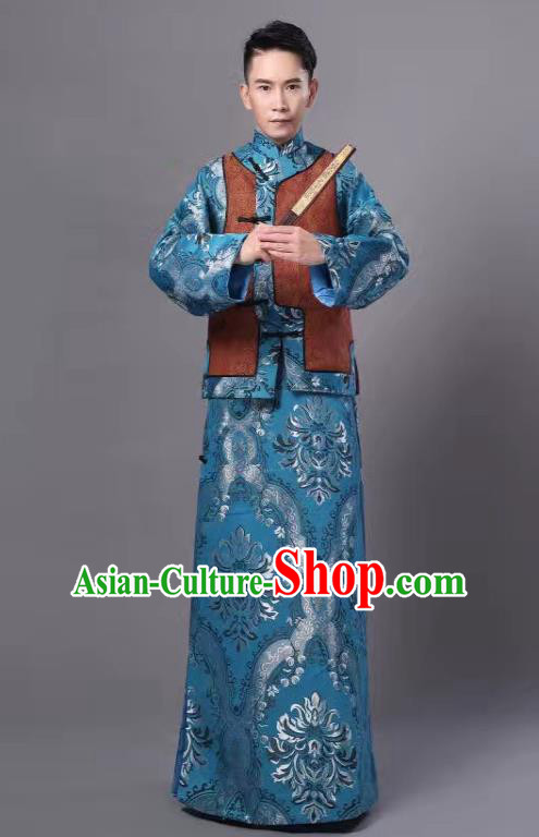 Chinese Traditional Qing Dynasty Prince Blue Hanfu Clothing Ancient Manchu Nobility Childe Costume for Men
