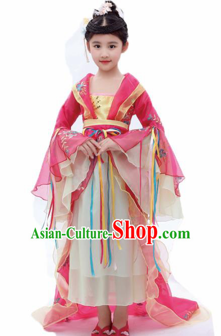 Chinese Traditional Tang Dynasty Girls Pink Hanfu Dress Ancient Court Princess Costume for Kids