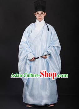 Chinese Traditional Ming Dynasty Minister Hanfu Light Blue Robe Ancient Officer Costume for Men