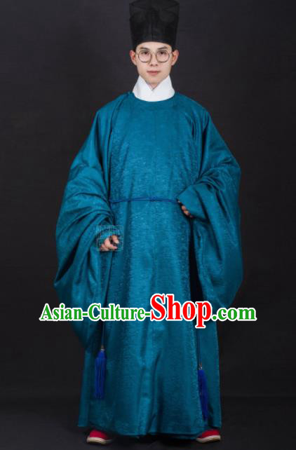 Chinese Traditional Ming Dynasty Minister Hanfu Blue Robe Ancient Officer Costume for Men