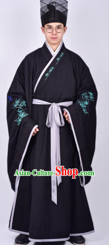 Chinese Traditional Ming Dynasty Taoist Priest Hanfu Black Robe Ancient Scholar Costume for Men