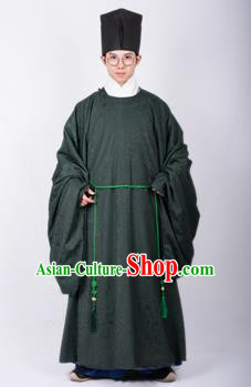Chinese Traditional Ming Dynasty Scholar Hanfu Green Robe Ancient Taoist Priest Costume for Men
