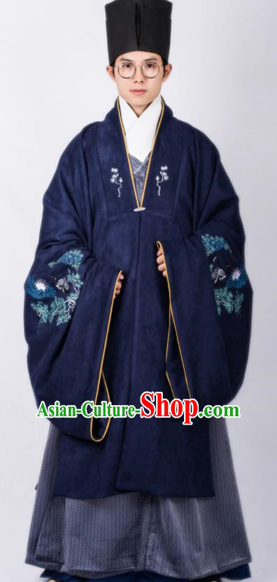 Chinese Traditional Ming Dynasty Scholar Hanfu Royalblue Cloak Ancient Taoist Priest Costume for Men