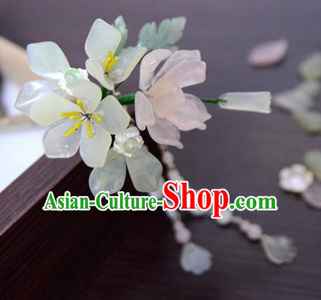 Chinese Ancient Court Queen White Jade Lotus Hair Clip Hairpins Traditional Classical Hanfu Hair Accessories for Women