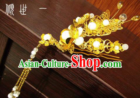 Chinese Ancient Court Queen Tassel Golden Hairpins Traditional Classical Hanfu Hair Accessories for Women