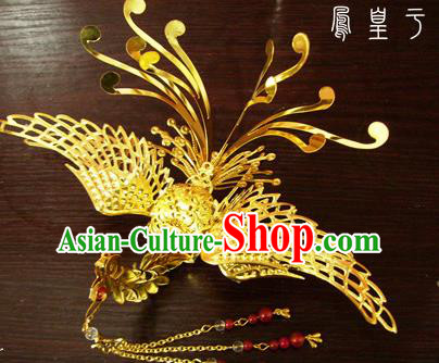 Chinese Ancient Court Queen Golden Phoenix Hairpins Traditional Classical Wedding Hanfu Hair Accessories for Women