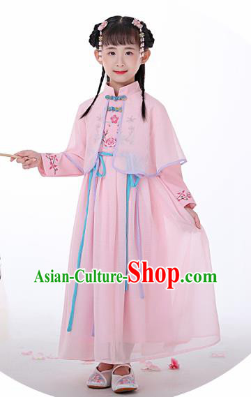 Chinese Traditional Children Pink Hanfu Dress Classical National Tang Suit Costume for Kids