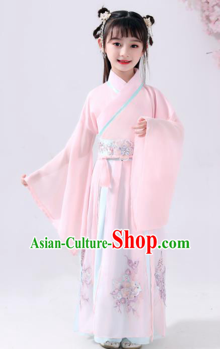 Chinese Traditional Han Dynasty Girls Pink Hanfu Dress Ancient Princess Peri Costume for Kids