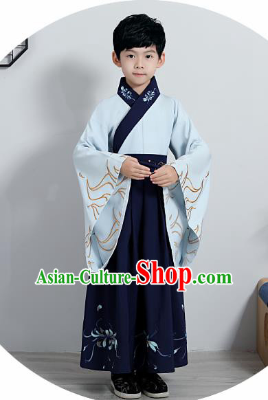 Chinese Traditional Han Dynasty Boys Embroidered Navy Hanfu Clothing Ancient Scholar Costume for Kids