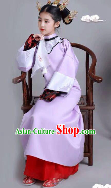 Chinese Traditional Qing Dynasty Girls Lilac Qipao Dress Ancient Manchu Princess Costume for Kids
