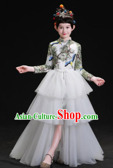 Chinese New Year Dance Performance White Veil Trailing Full Dress Kindergarten Girls Stage Show Costume for Kids