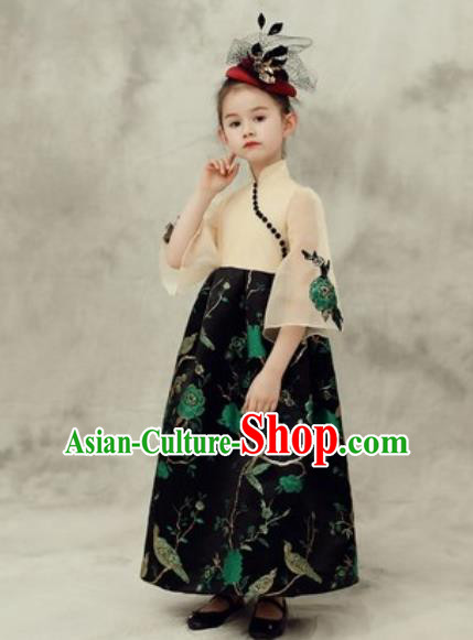 Chinese New Year Performance Black Dress National Kindergarten Girls Dance Stage Show Costume for Kids