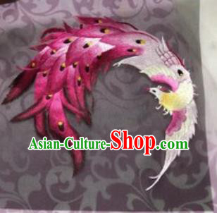 Chinese Traditional Suzhou Embroidery Phoenix Cloth Accessories Embroidered Patches Embroidering Craft