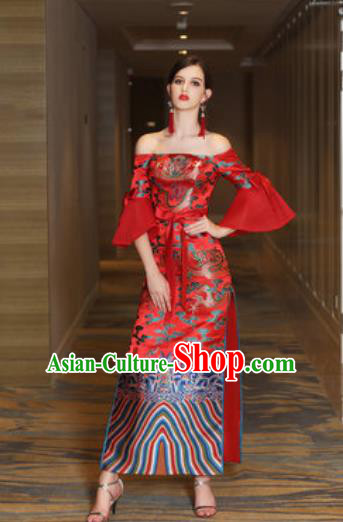 Chinese New Year Performance Red Dress National Dance Stage Show Costume for Women