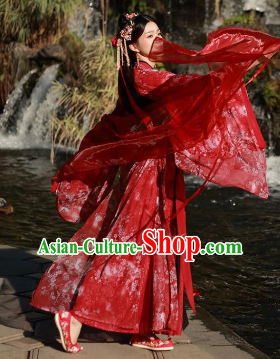 Traditional Chinese Song Dynasty Court Princess Wedding Replica Costumes Ancient Bride Embroidered Red Hanfu Dress for Women