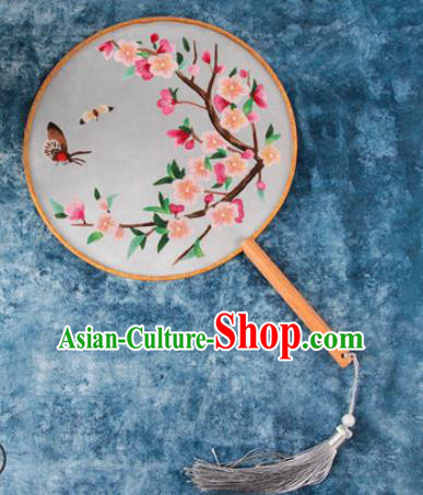 Chinese Traditional Handmade Embroidery Pink Plum Blossom Silk Round Fan Embroidered Palace Fans