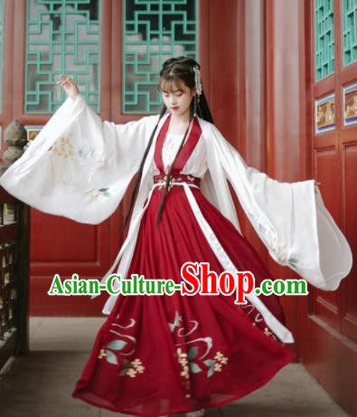 Traditional Chinese Song Dynasty Royal Princess Replica Costumes Ancient Nobility Lady Hanfu Dress for Women