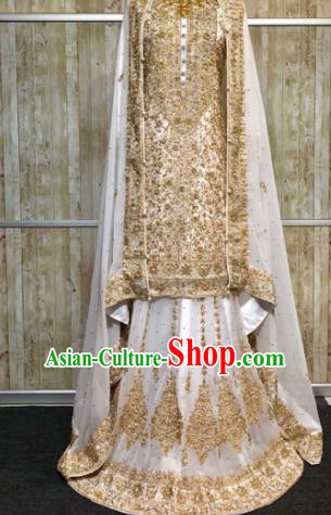 South Asia  Indian Court Bride Golden Costumes Traditional   India Wedding Luxury Embroidered Dress for Women
