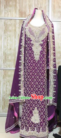 South Asia  Indian Court Bride Embroidered Purple Dress Traditional   India Hui Nationality Wedding Costumes for Women