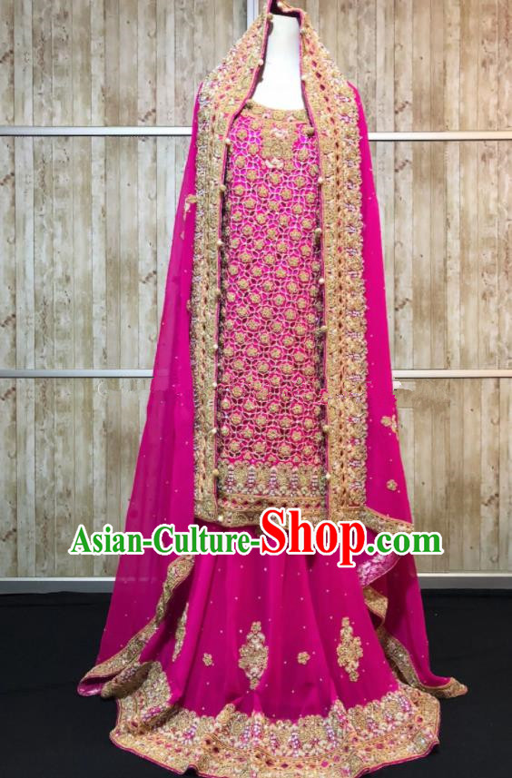 Asian  Indian Court Queen Wedding Embroidered Rosy Dress Traditional   India Hui Nationality Bride Costumes for Women